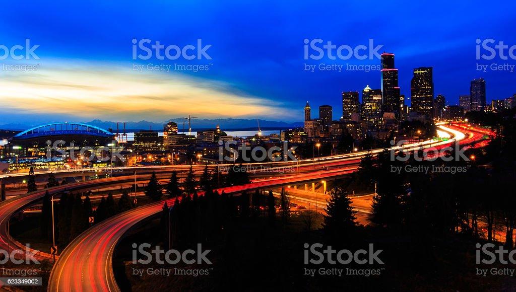 Sunset Over Seattle stock photo