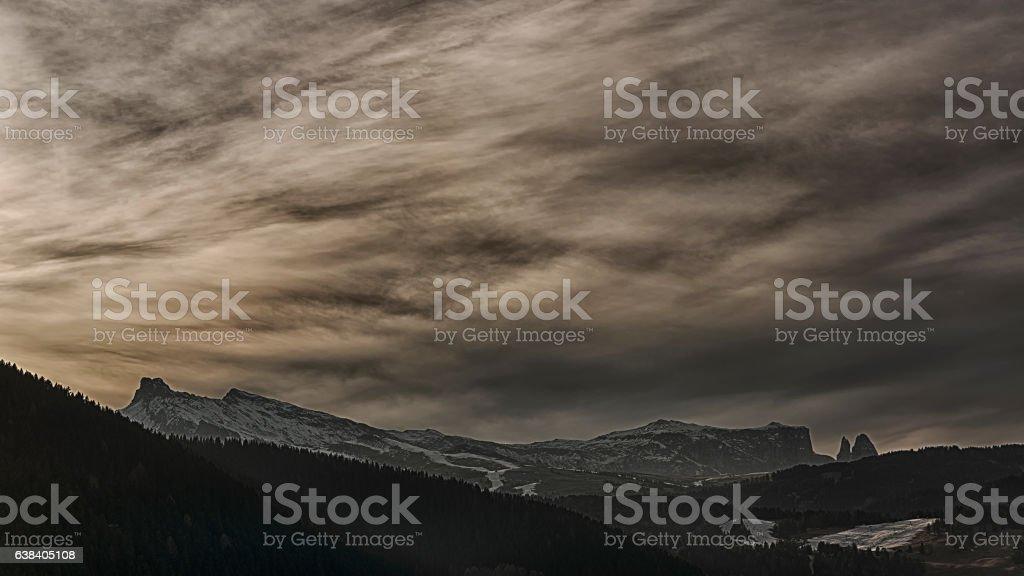 Sunset over Seiser Alm stock photo