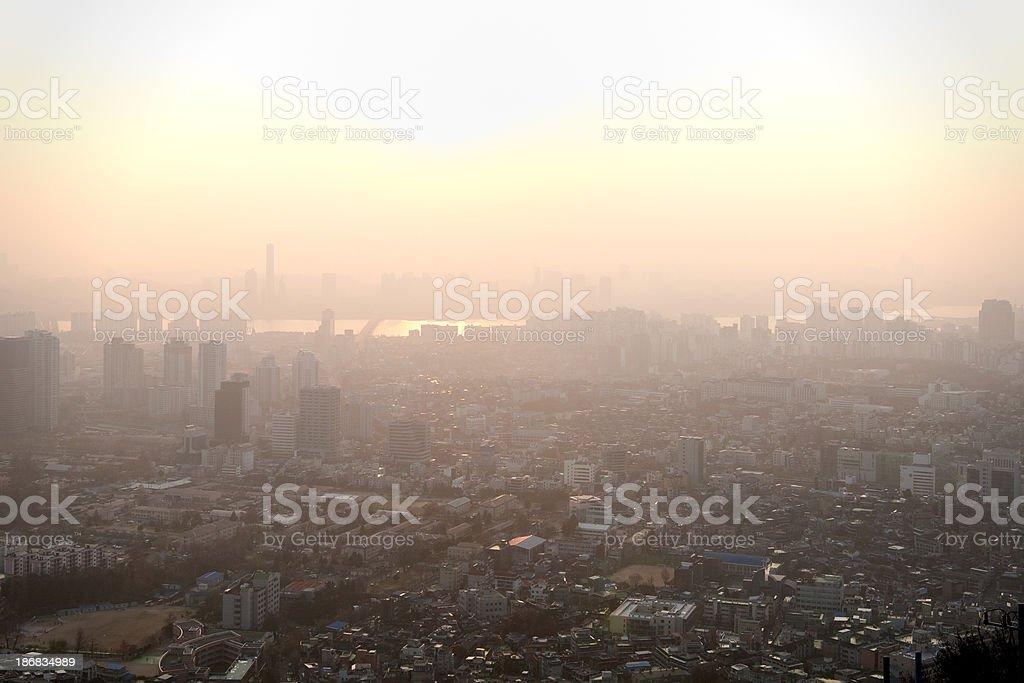 Sunset Over Seoul royalty-free stock photo