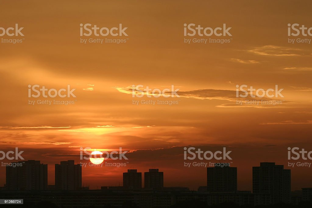 Sunset over serangoon (Singapore) stock photo