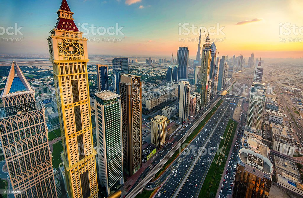 Sunset over Sheikh Zayed Road, Dubai stock photo