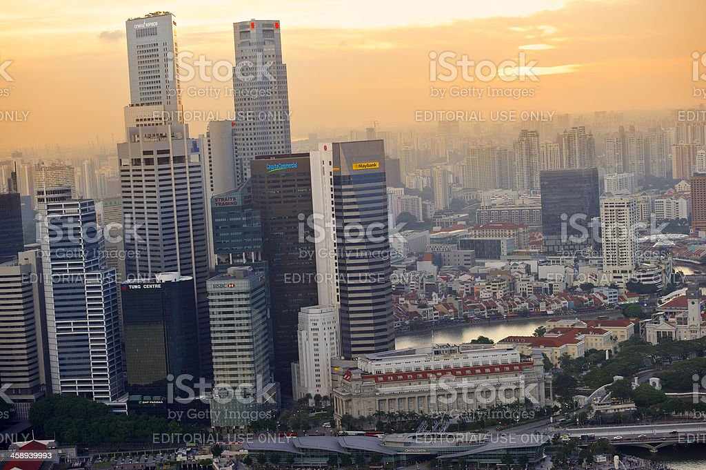 Sunset over Singapore stock photo