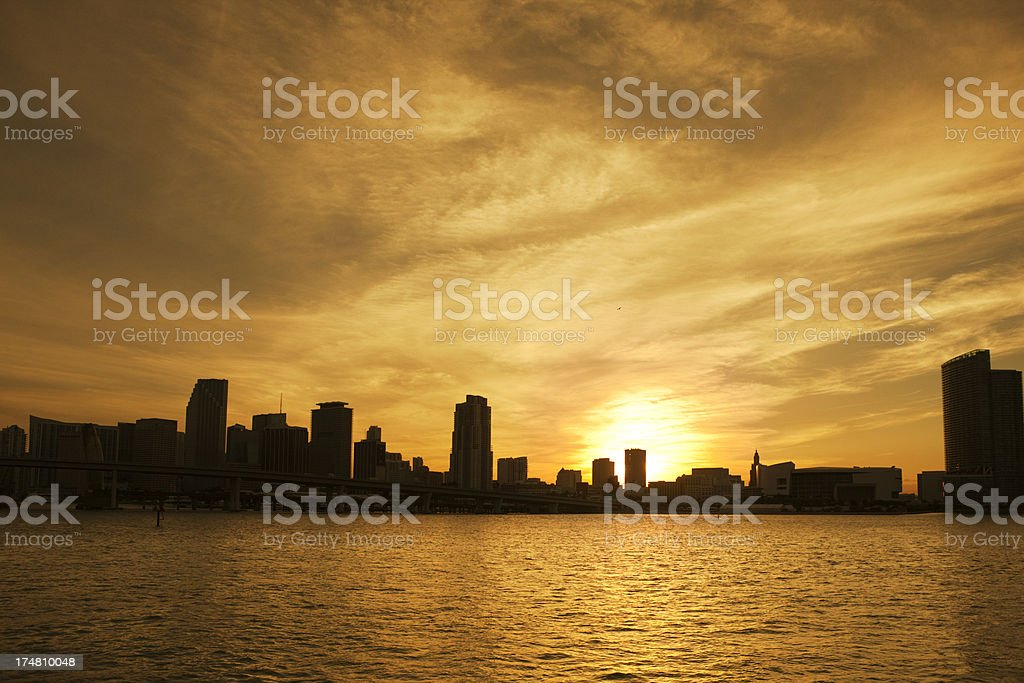 Sunset Over Skyline of Miami Florida royalty-free stock photo