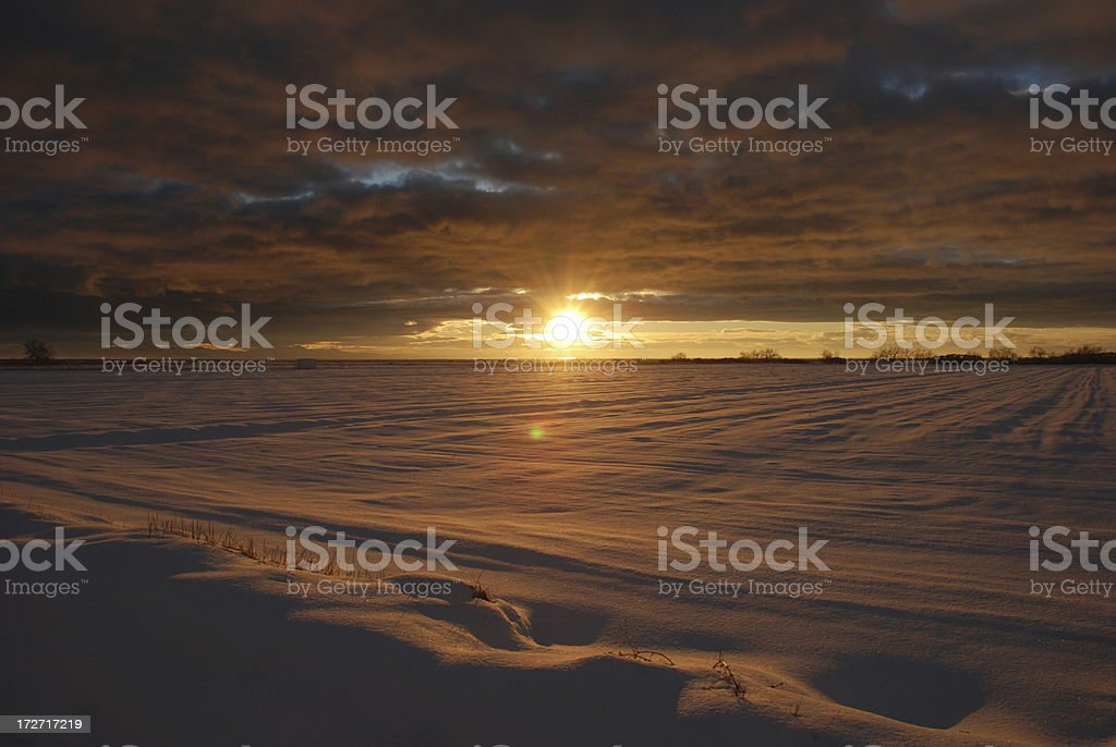 Sunset Over Snow stock photo