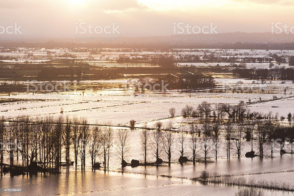 Sunset over Somerset Levels stock photo