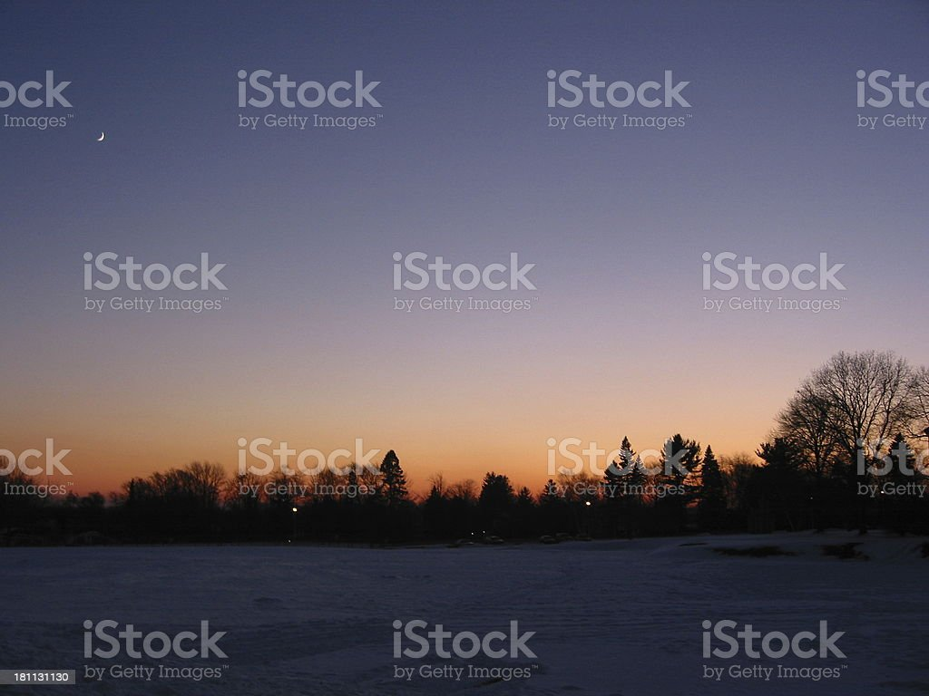 Sunset over South Campus - B royalty-free stock photo