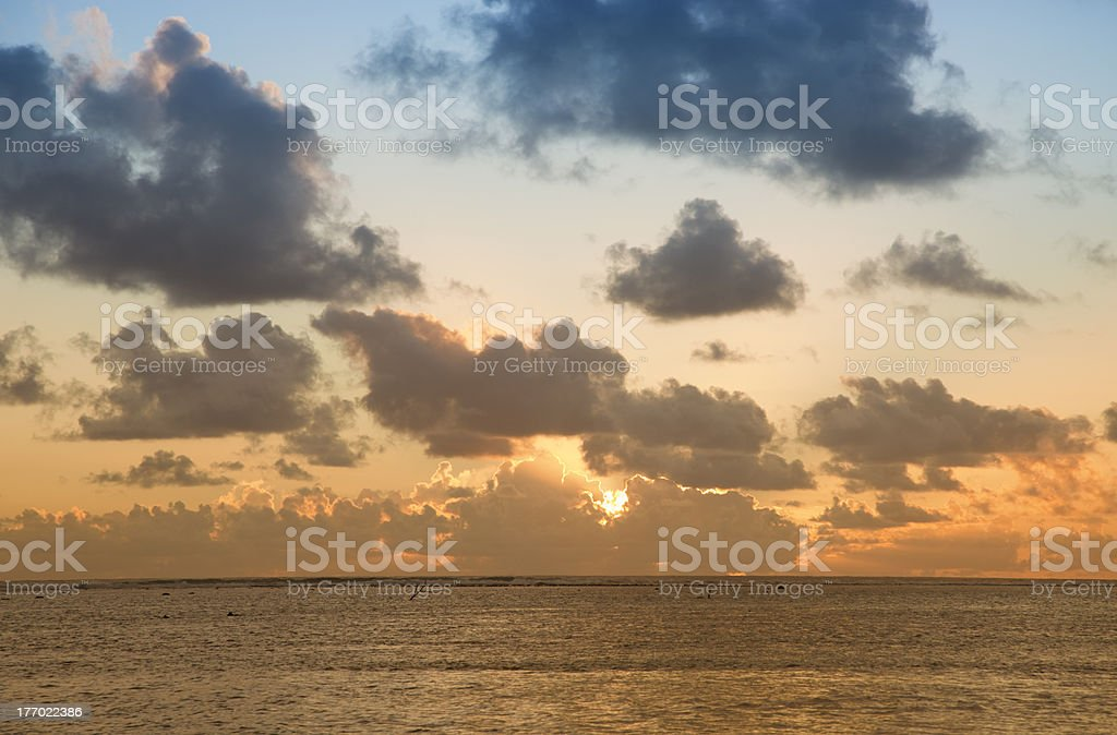 Sunset over South Pacific Ocean royalty-free stock photo