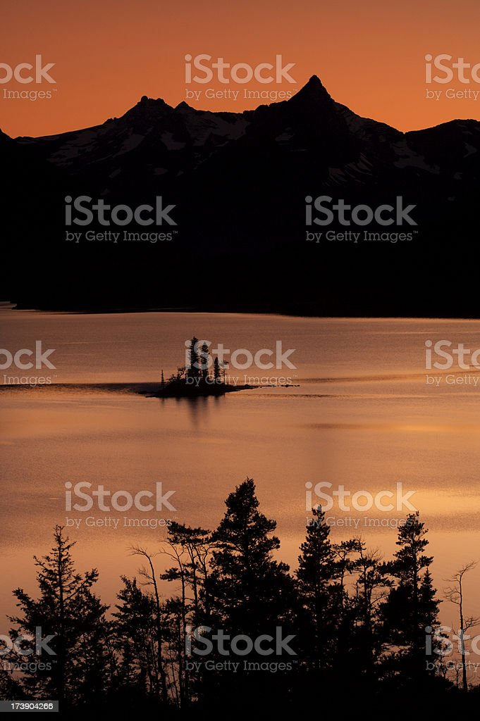 Sunset over St Mary Lake royalty-free stock photo