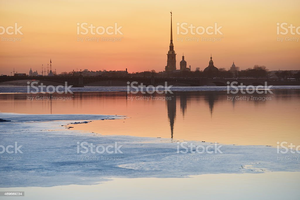 Sunset over St. Petersburg in springtime stock photo