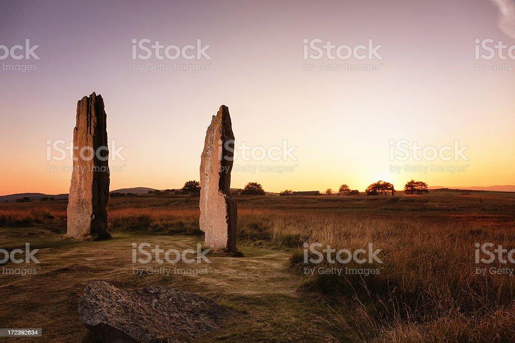 Sunset Over Standing Stones On Machrie Moor, Arran royalty-free stock photo