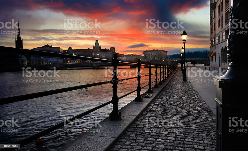Sunset over Stockholm city stock photo
