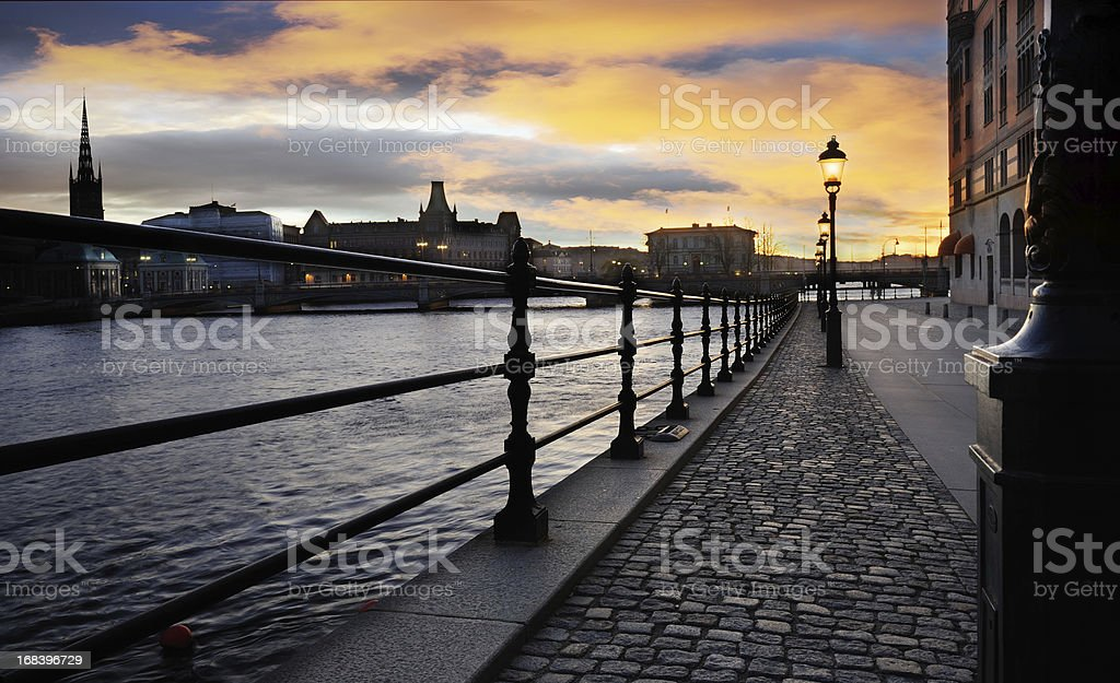 Sunset over Stockholm city royalty-free stock photo