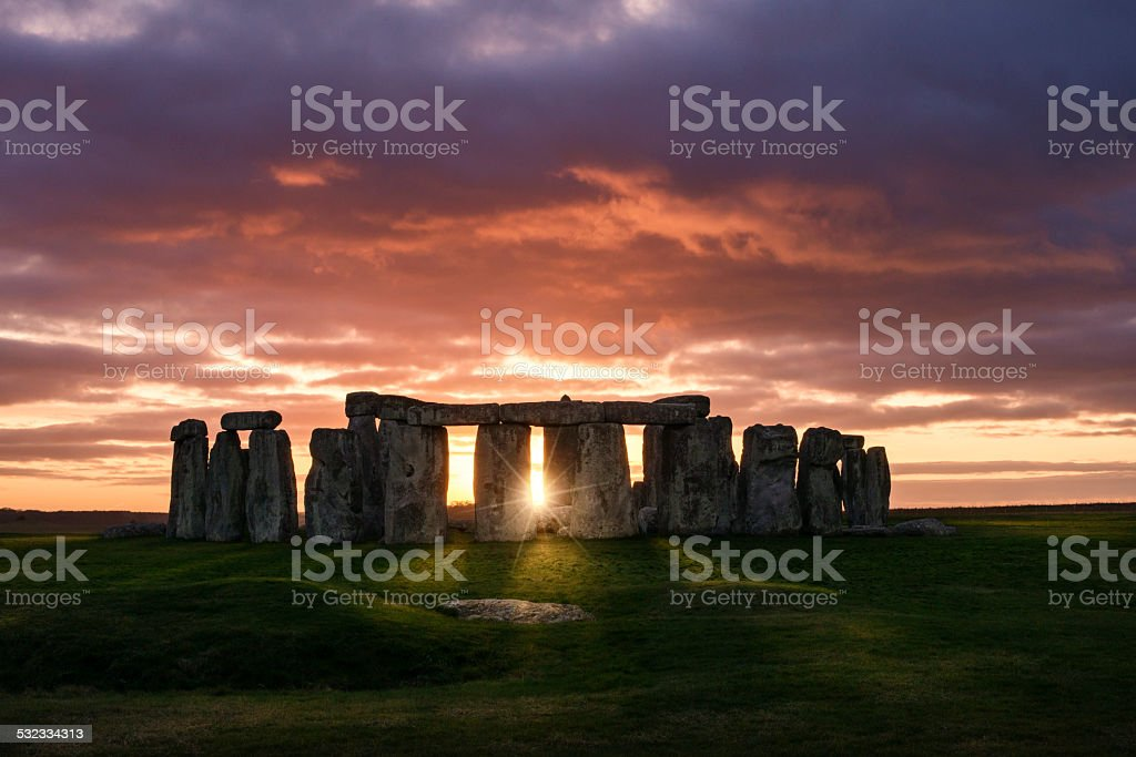 Sunset over Stonehenge stock photo