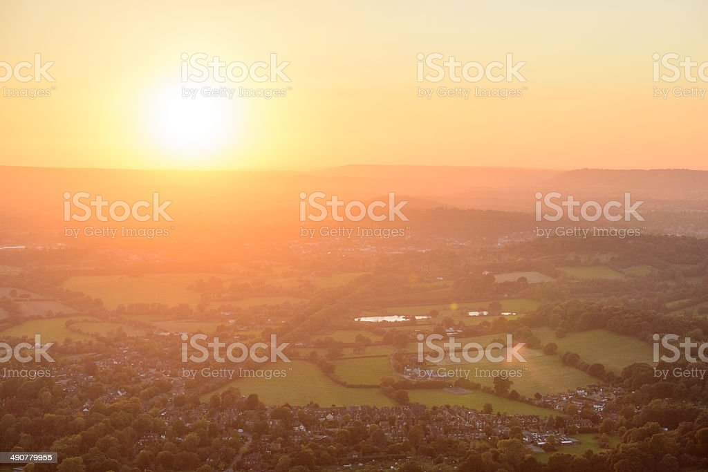 Sunset over Surrey Hills stock photo