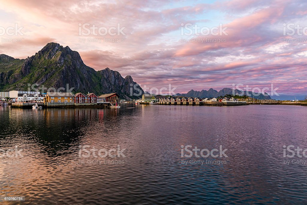 Sunset over Svolvaer village in Norway stock photo
