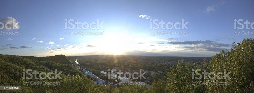 Sunset over Svyatogorsk Orthodox Monastery stock photo