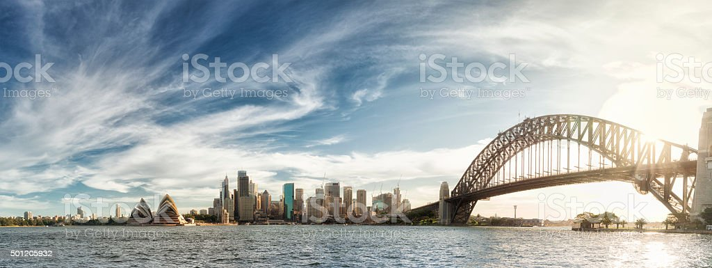 Sunset over Sydney panorama stock photo