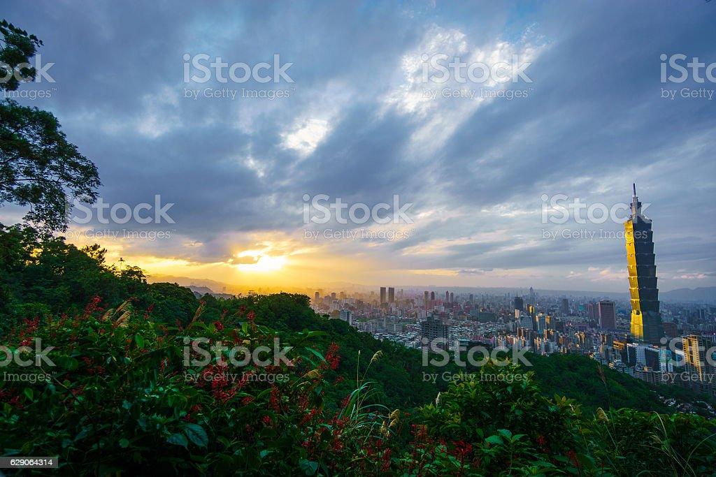 Sunset over Taipei stock photo