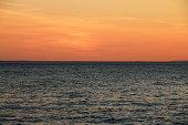 Sunset over the Adriatic sea in Brela , Croatia