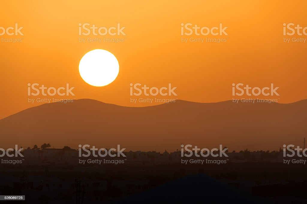 Sunset over the Ajaches mountains royalty-free stock photo