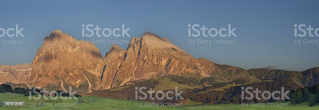 Tramonto sull'Alpe di Siusi stock photo