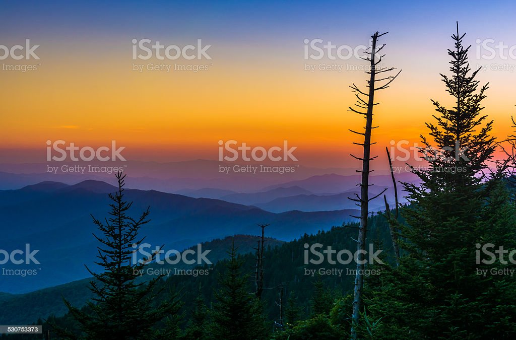 Sunset over the Appalachian Mountains from Clingman's Dome in Gr stock photo