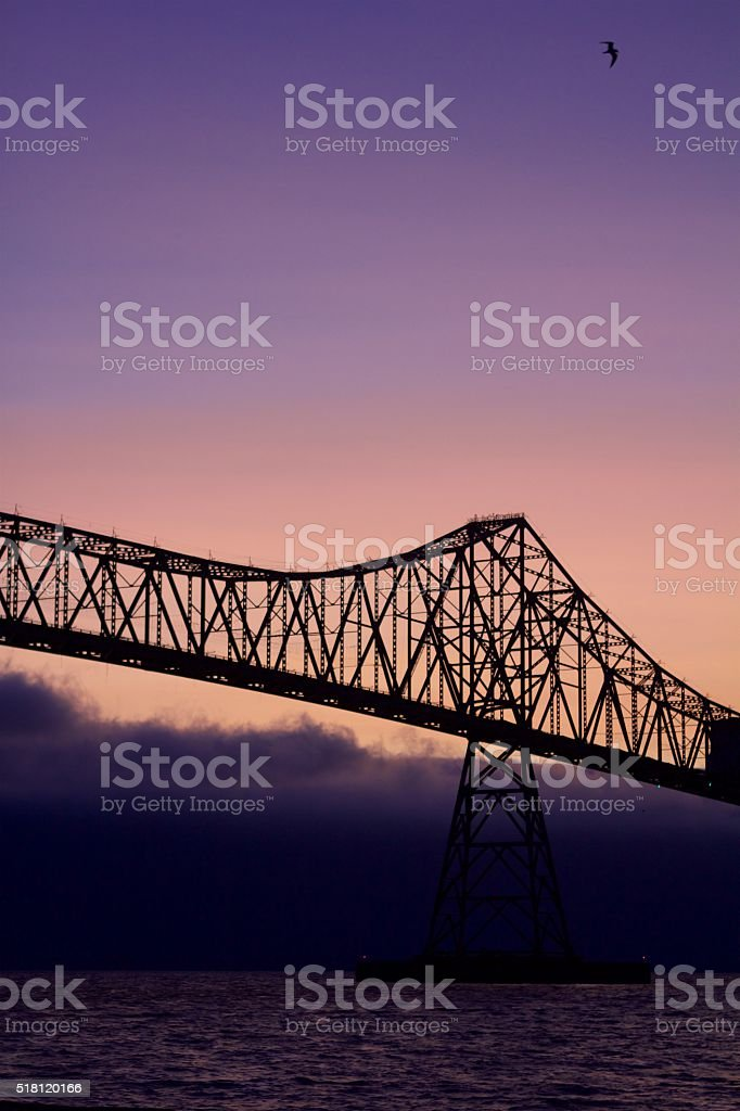 Sunset over the Astoria Bridge stock photo