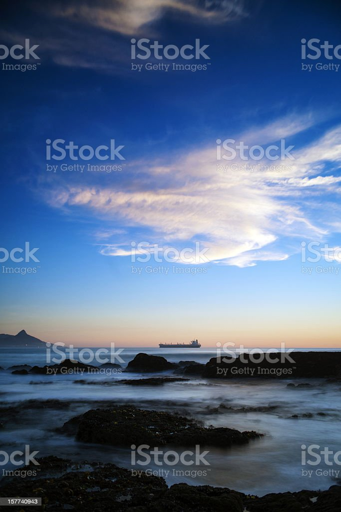 Sunset over the Atlantic ocean royalty-free stock photo