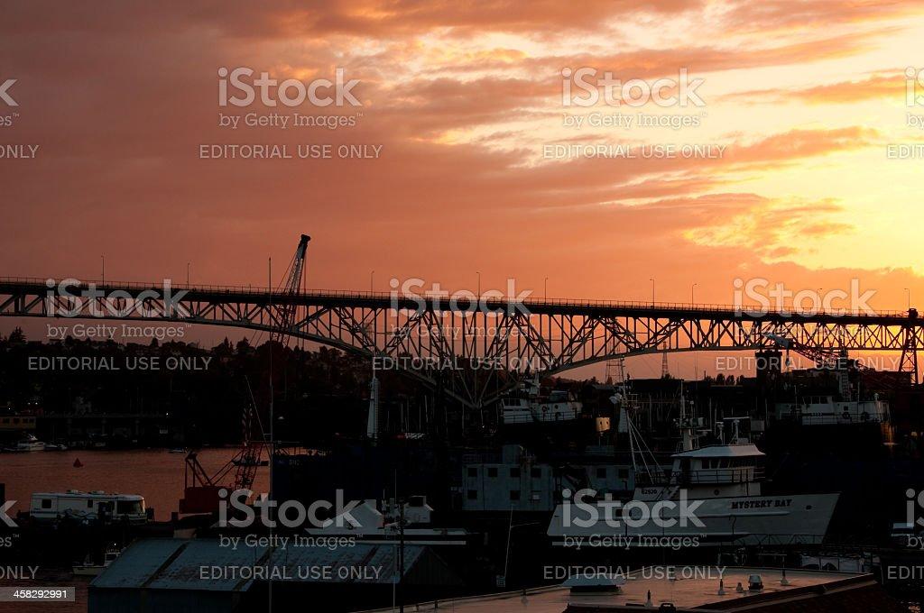 Sunset over the Aurora Bridge stock photo