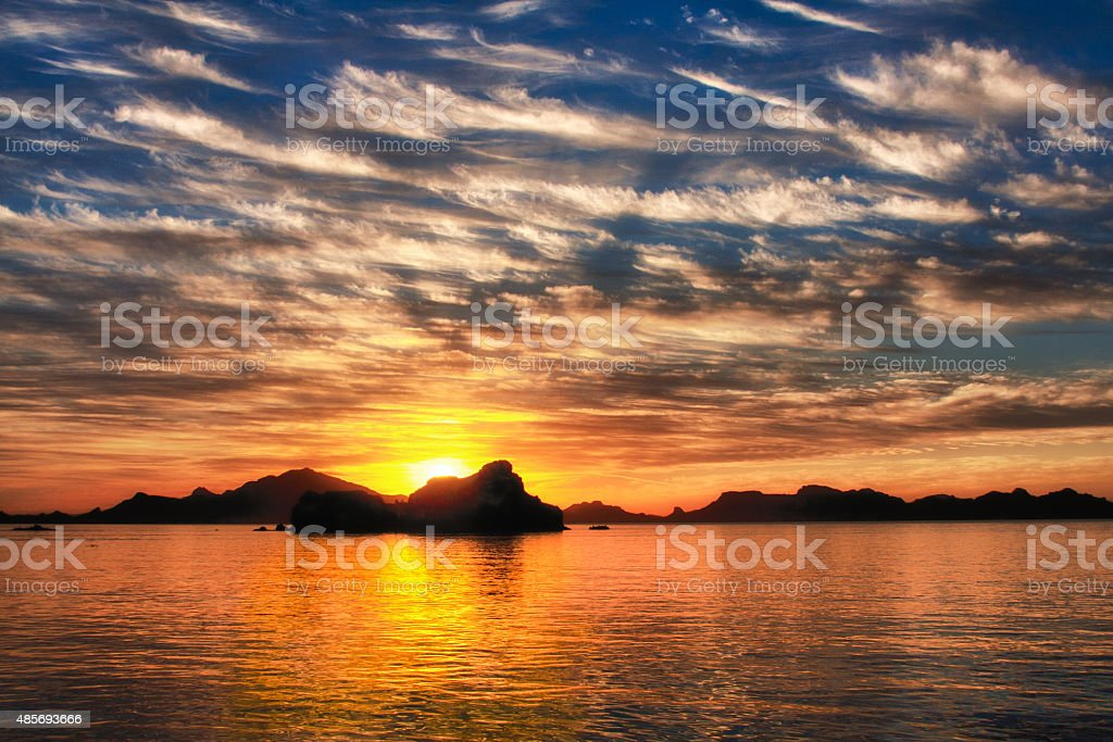 Sunset over the Baja stock photo