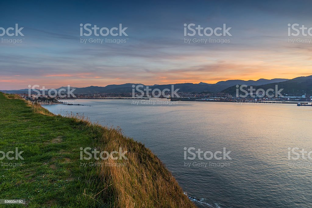 Sunset over the bay and harbor stock photo