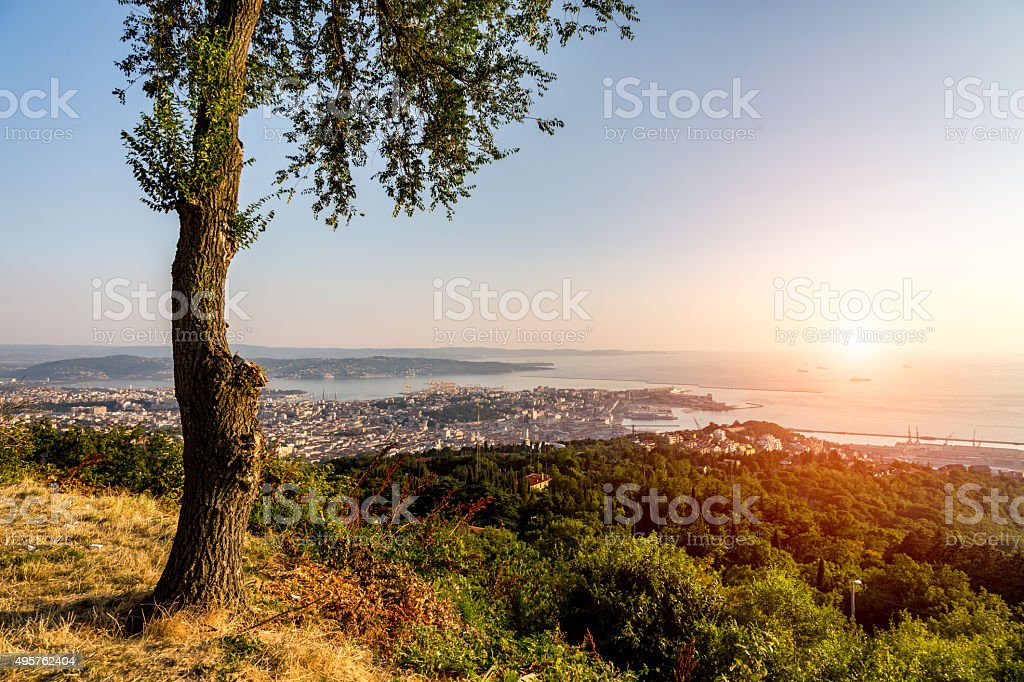 Sunset over the bay in Trieste stock photo