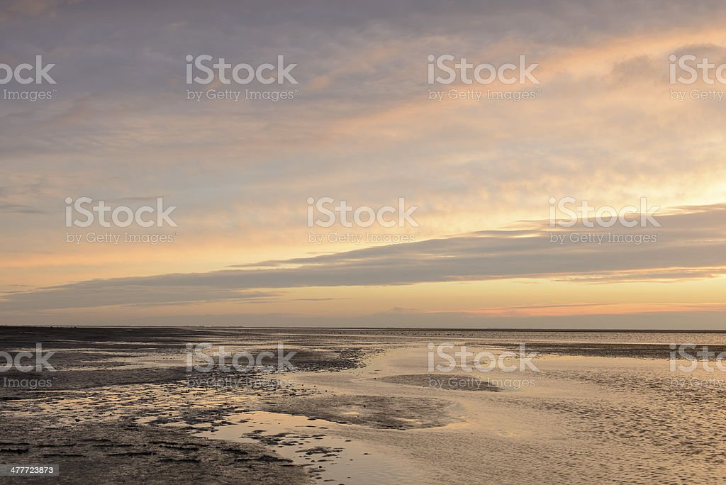 Sunset over the beach stock photo