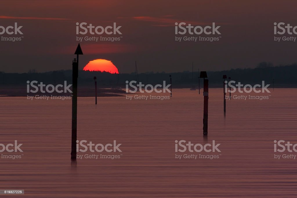 Sunset over the Beaulieu River at Lepe stock photo