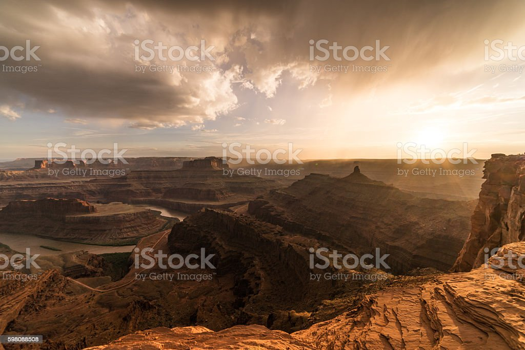 Sunset over the beautiful canyons & rivers.  Utah desert, Moab stock photo