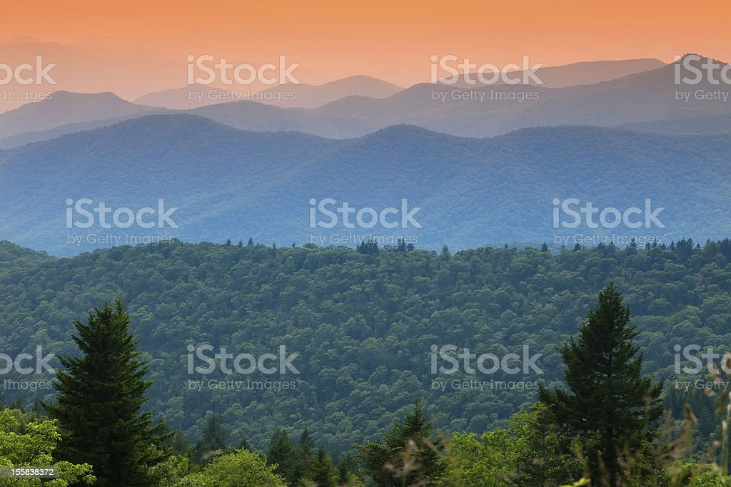 Sunset over the Blue Ridge Mountains royalty-free stock photo
