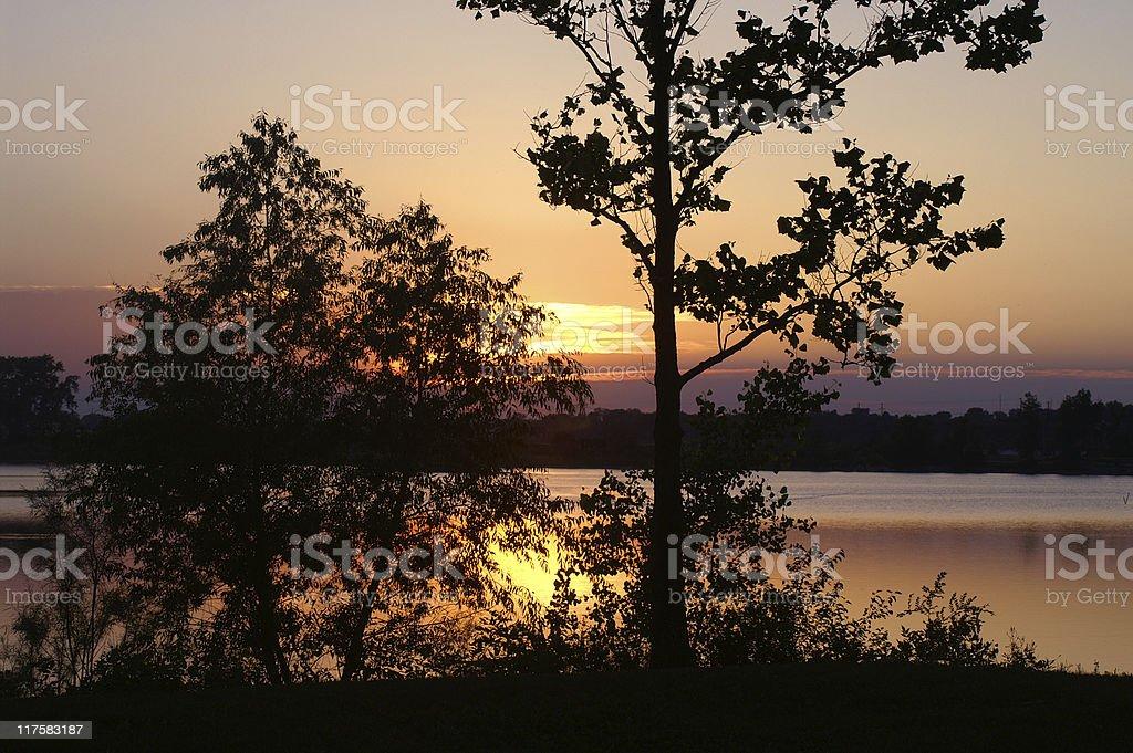 sunset over the Blue River, Nebraska royalty-free stock photo