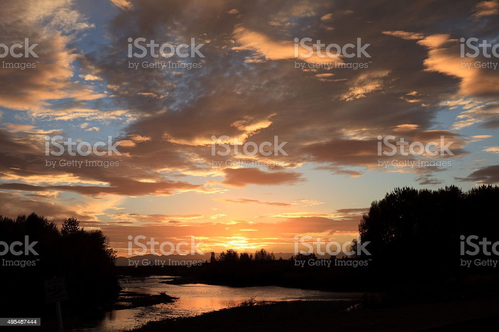 Sunset Over The Bow River stock photo