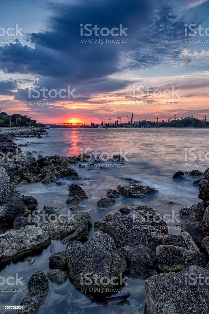sunset over the bridge stock photo