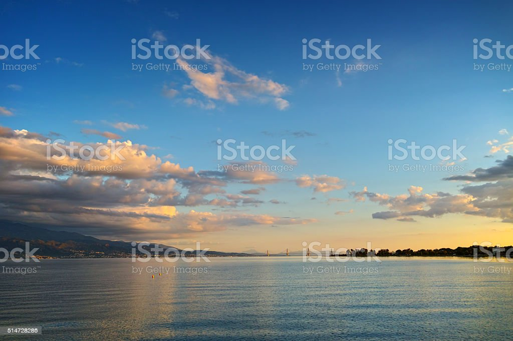 Sunset over The cable bridge between Rio and Antirrio, Greece stock photo