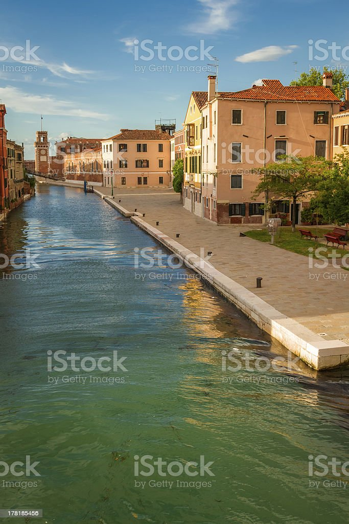 Sunset over the canal in Venice royalty-free stock photo