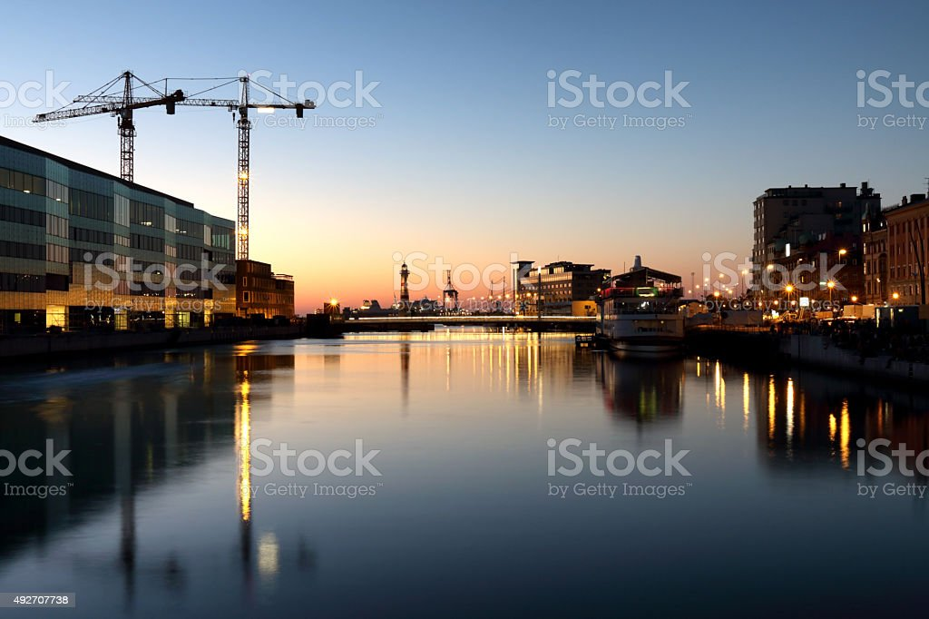 Sunset over the canals of Malmo stock photo