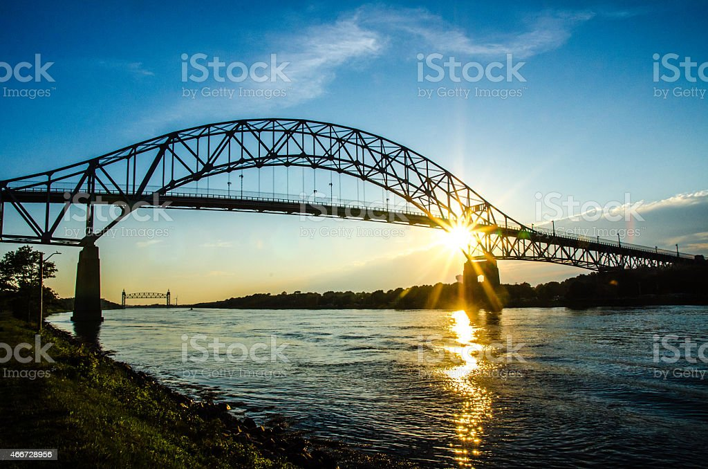 Sunset over the Cape Cod Canal stock photo