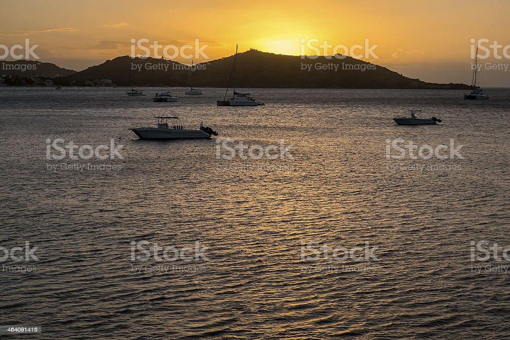 Sunset Over the Caribbean Sea stock photo