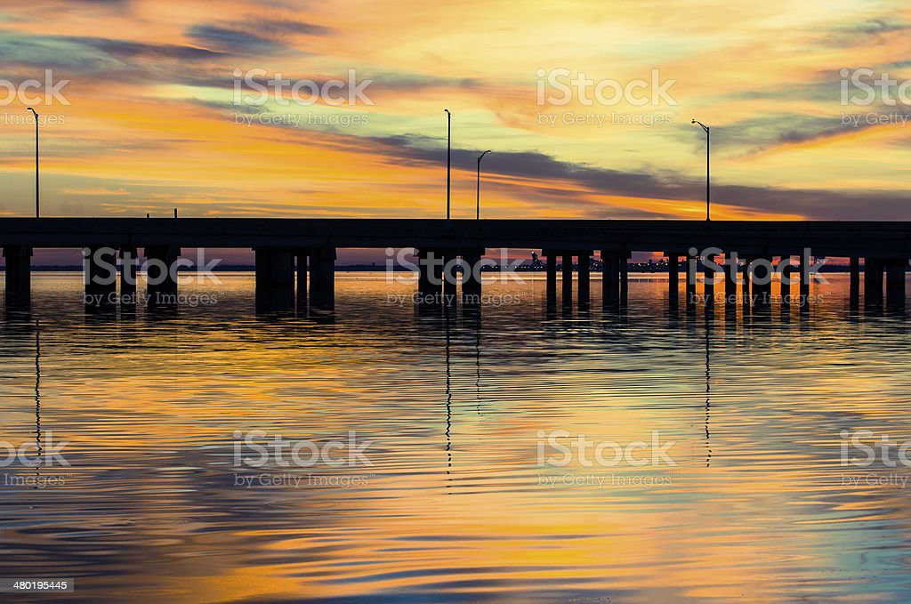 Sunset Over the Causeway stock photo