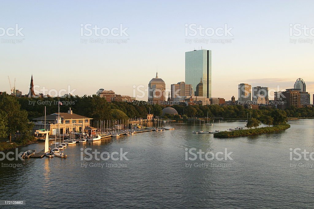 Sunset over the Charles River royalty-free stock photo