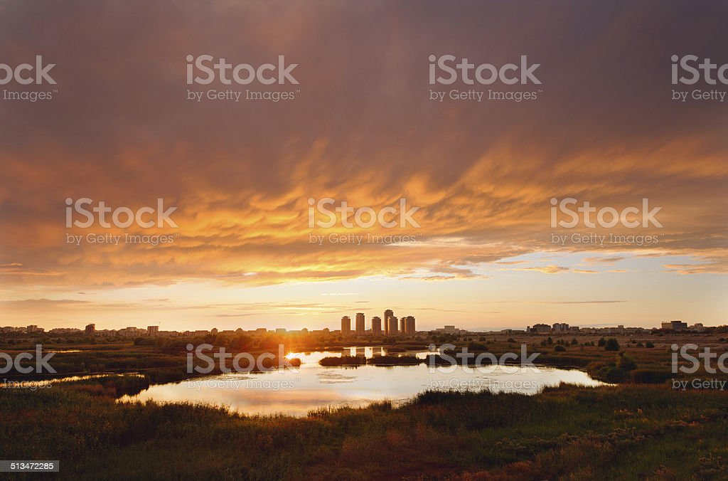 Sunset over the city 2 stock photo