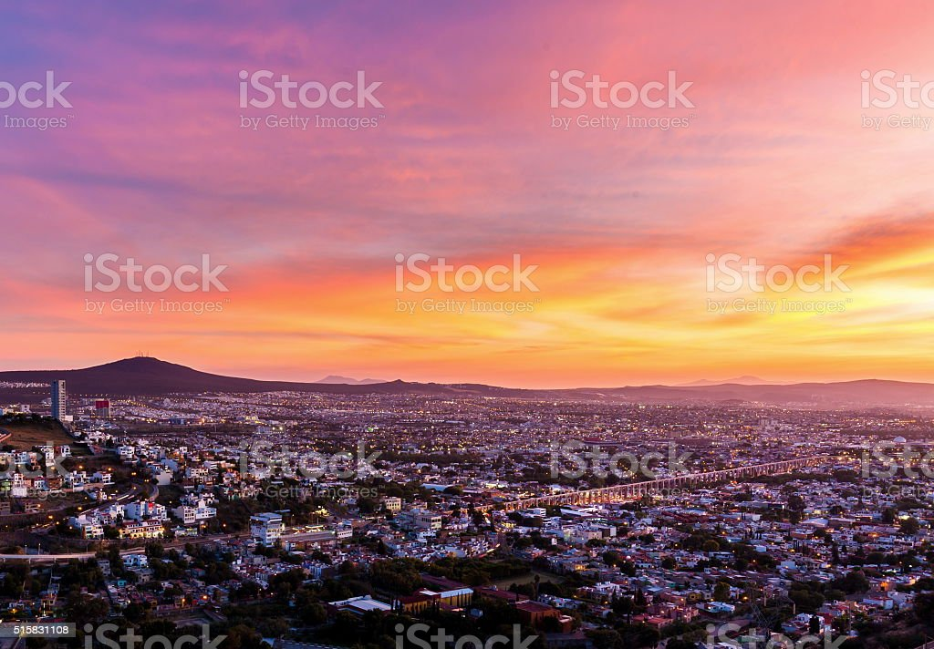 Sunset over the city of Queretaro Mexico. stock photo