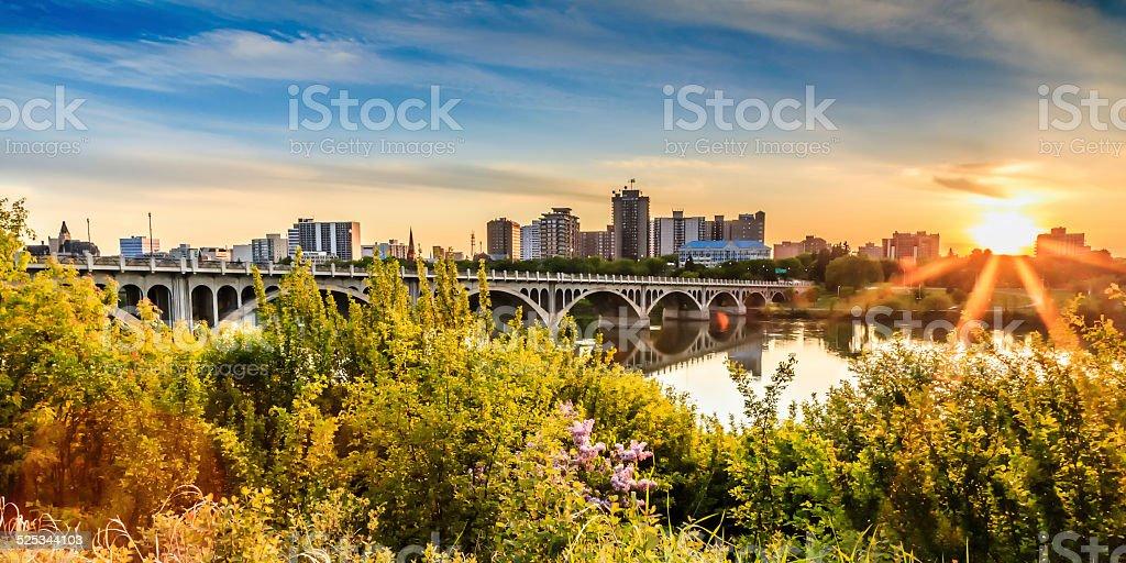 Sunset over the City of Saskatoon stock photo
