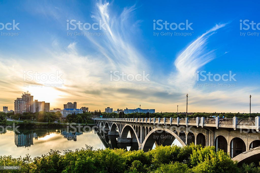 Sunset over the City of Saskatoon stock photo